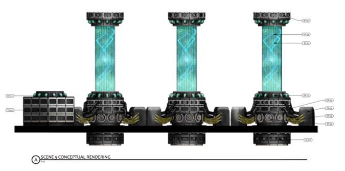 Color and Materials Rendering of Towers of Power