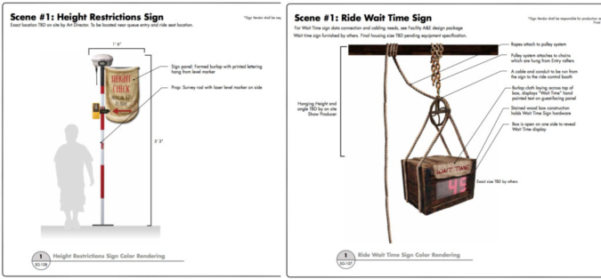 Height check and Wait Time sign designs