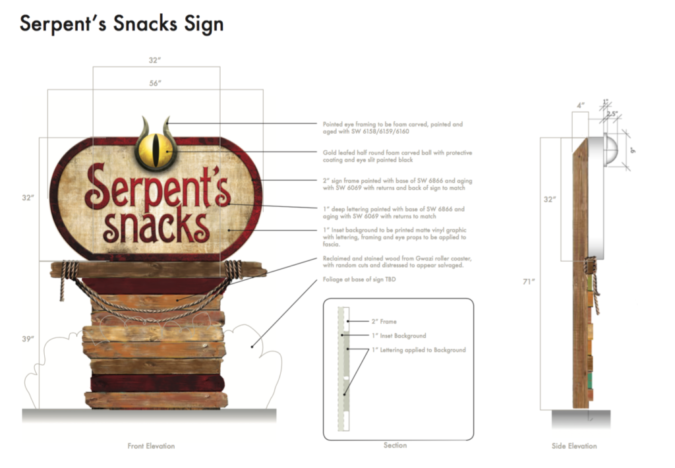 Serpent's Snacks ID Sign design