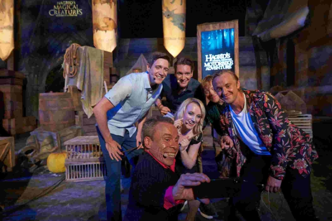 Celebrities from the Harry Potter films in front of the set